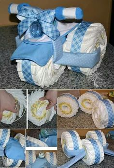 Baby Shower Gift Ideas ~ Such a cute diy baby gift idea. Bricolage Baby Shower, Cadeau Baby Shower, Idee Baby Shower, Bebe Shower, Baby Boy Shower, Baby Shower Gifts, Diaper Bike, Tricycle Diaper Cakes, Diaper Motorcycle Cake