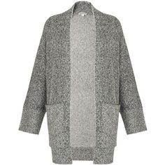 Whistles Textured Cardigan, Grey ($125) ❤ liked on Polyvore featuring tops, cardigans, gray oversized cardigan, grey long sleeve top, oversized grey cardigan, grey wool cardigan and wool tops