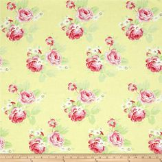 Tanya Whelan Lola Roses Yellow from @fabricdotcom  Designed by Tanya Whelan for Free Spirit, this cotton print is perfect for quilting, apparel and home decor accents.  Colors include white, shades of pink, shades of yellow and shades of green.