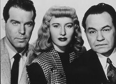 Edward G. Robinson, Barbara Stanwyck, Fred MacMurray *From Double Indemnity, another great movie*