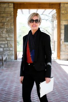Crisscross the Ebury Color Block Scarf and tuck in both ends to create the illusion of a silk top with a fabulous neckline.   www.lionsinfour.com