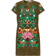 Valentino Floral-appliqu?d suede mini dress ($15,800) ❤ liked on Polyvore featuring dresses, valentino, green, floral applique dress, brown dress, short floral dresses, embellished dress and green dress