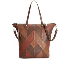 Lucky Brand Piece Train Leather Patchwork Tote Crossbody Brandy LB2031 #LuckyBrand #TotesShoppers