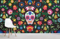 If you're looking to create a unique theme in your teens' bedroom, this stylish sugar skull wallpaper is a vibrant choice. Mural Floral, Flower Mural, Floral Wall, Mexican Colors, Mexican Flowers, Sugar Skull Decor, Sugar Skull Art, Sugar Skulls, Colorful Wallpaper