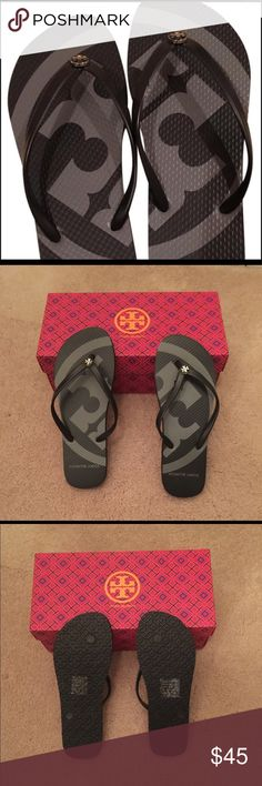 🆕 Tory Burch logo flip flop 💯% authentic Tory Burch large logo flip flop. Black/grey NWT.  Never been worn Tory Burch Shoes Sandals