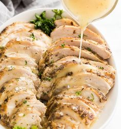 Sous Vide Turkey Breast with Apple Cider Gravy Delish Chicken Recipes, Turkey Recipes, Meat Recipes, Appetizer Recipes, Cooking Recipes, Recipies, Turkey Tenderloin Recipes, Turkey Gravy From Drippings, Sous Vide Cooking