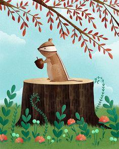 Una copia de mi ilustración original de ardilla de mi amigos Woodland serie. * Disponible en varios tamaños diferentes, por favor seleccione