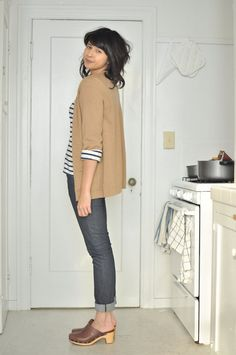Clogs + striped sweater + oversized sweater Perfect for: Running Errands, Grocery shopping,