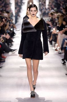 Kendall Jenner transforms from blonde ice queen to gothic goddess as she reverts to brunette to rule the runway at the Christian Dior Paris Fashion Week showcase | Daily Mail Online