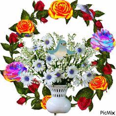 szeretet Good Night Gif, Good Morning Gif, Sunflower Floral Arrangements, Vote Sticker, Flowers Gif, Beaded Cross, Montages, Photomontage, Vintage Love
