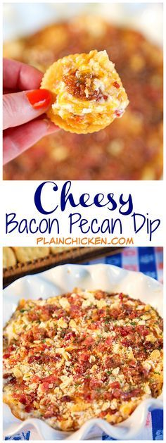Cheesy Bacon and Pecan Dip recipe - cream cheese, mayonnaise, cheddar, bacon, ritz crackers and pepper pecan glaze - This is crazy good. I have absolutely no self control around it. I could eat it as a meal. Can make the dip ahead of time and refrigerate until ready to bake. Great for parties. It is always the first thing to go!!