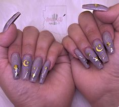 Nail art for spring lavender with gold stars and moons Nails - New Ideas Cute Acrylic Nails, Acrylic Nail Designs, Cute Nails, Nail Art Designs, Design Art, Design Ideas, Nail Polish, Gel Nails, Glitter Nails