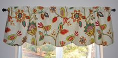 Bird Valance . Richloom Fiesta . Retro Design . Can Request Custom Sizes .  FULLY Lined . Scallped Hem . Beautiful Handmade by SeamsOriginal by SeamsOriginal on Etsy
