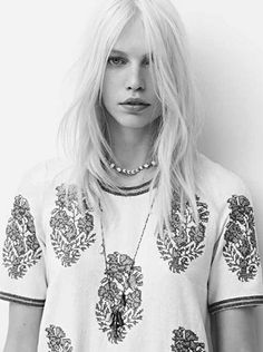 Isabel Marant tee, white hair, necklaces