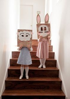 Brown Sack Easter Masks: Oh Happy Day's fun Easter animal masks are easy to make and oh-so cute.   Source: Oh Happy Day