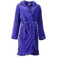 Wat een leuk model! Deze korte badjas paars voorzien van hartjes (gestanst) en een leuk detail is uiteraard het randje.