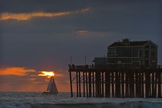 Sailboat at Sunset at the Oceanside Pier.