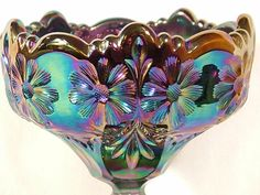 carnival glass | Fenton Carnival Glass Footed Compote