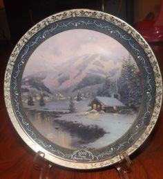 2002 Thomas Kincaid Olympic Mountain Evening Collectors Plate