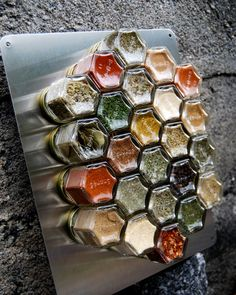 """Honeycomb Magnetic Spice Rack for Wall.  Set of 24 personalized, hand-stamped empty jars. Includes LARGE 12"""" x 15"""" Wall Plate."""