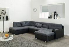 Wohnlandschaft Rocky U Form Mit Wohnzimmer Sofa Schlaffunktion Schwarz Grau Ottomane Links Amazon De Kuche Haushalt In 2020 Sofa Sectional Couch Home