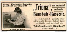 Original-Werbung / Anzeige 1908 - TRIONA HAUSHALT - KASSETTE/ TRIO MÜNCHEN - ca. 80 x 50 mm