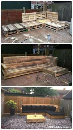 Pallet L-Shaped Sofa for Patio / Couch 101 Pallet Ideas - Sequin Gardens Backyard Projects, Outdoor Projects, Pallet Projects, Home Projects, Furniture Projects, Backyard Pallet Ideas, Furniture Removal, Diy Garden Furniture, Patio Ideas With Pallets