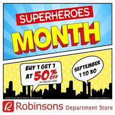 Calling all Comic Fanatics!   This September, Robinsons Department Store is giving away a FREE Marvel notebook, a DC mug or a poster for every P500 single-receipt purchase!  Also, BUY 1 GET 1 at 50% OFF on selected items on selected items from participating brands from Teens' Wear Department!  Promo valid from September 1 to 30, 2016.  For more promo deals, VISIT http://mypromo.com.ph! SUBSCRIPTION IS FREE! Please SHARE MyPromo Online Page to your friends to enjoy promo deals!