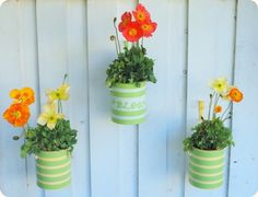 Paint can planters - or paint your house numbers on them and set on your front step.