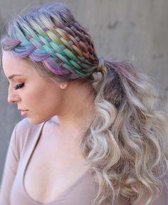 Hidden Rainbow Hair Color Ideas - Our Hairstyles Braided Ponytail, Braided Hairstyles, Cool Hairstyles, Hairdos, Hairstyle Ideas, Hair Color Blue, Cool Hair Color, Hidden Rainbow Hair, Pulp Riot Hair Color