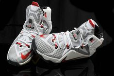 official photos 9656a 3a68f Womens and Kids Lebron 12 Cavs Home White Red PE