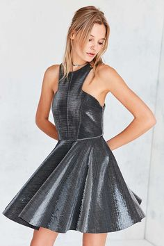 Slide View: 2: Silence + Noise Iridescent Carved High-Neck Mini Dress