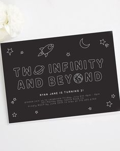 Love this Etsy kids' birthday party invitation for a intergalacti-cool space birthday theme! 2nd Birthday Party Themes, Second Birthday Ideas, Toy Story Birthday, Boy Birthday Parties, Baby Birthday, Birthday Banners, Birthday Party Invitation Wording, Husband Birthday, Birthday Wishes