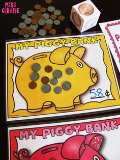 Money games for kids that are so much fun. all of these activities come in U. money, Canadian money, Australian money, and UK money versions! Money Games For Kids, Money Activities, Math For Kids, Fun Math, Math Games, Numeracy Activities, Money Worksheets, Kindergarten Math Worksheets, In Kindergarten