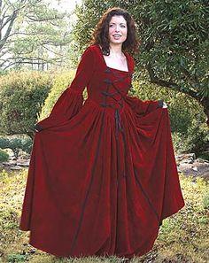 Scarlet Dress Gown Tudor Medieval Renaissance Costume