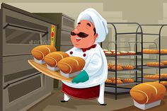 Buy Baker in the kitchen by artisticco on GraphicRiver. A vector illustration of happy baker holding breads in the kitchen. Vector illustration, zip archive contain eps 10 a. Unique Business Cards, Professional Business Cards, Kylie Jenner Drawing, Brochure Design Inspiration, Free Coloring Pages, Food Illustrations, First They Came, Cartoon Images, Vector Art