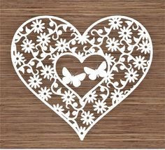 Butterflies in flowers and Heart PDF SVG Commercial by ArtyCuts