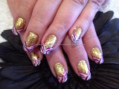 Gold glitter with freehand nail art