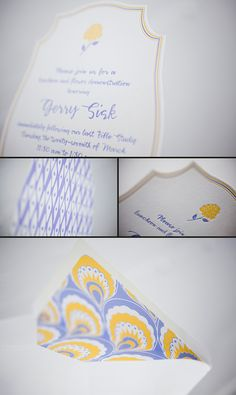 Die-cut invitations with a fresh color palette that we printed for Georgia Ann's Paperie