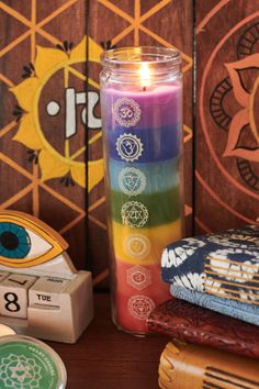 Chakras Spiced Citrus Prayer Candle is a glass candle handmade with paraffin wax featuring seven colors representing the seven chakras. Candle Art, Candle Magic, Glass Candle, Handmade Candles, Diy Candles, Chakras, Decoration Inspiration, Drinking Tea, Plexus Products