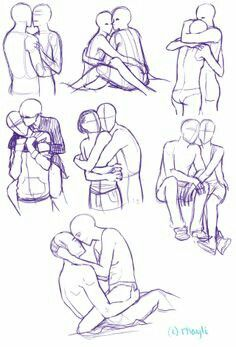 two people hugging art reference Drawing Base, Manga Drawing, Art Tutorials, Drawing Tutorials, Poses References, Art Poses, Drawing Techniques, Drawing Tips, Drawing Stuff