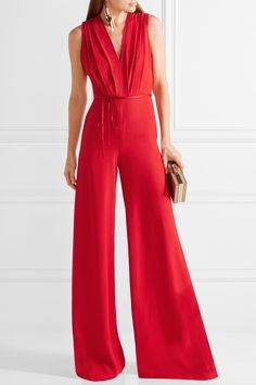 Adam Lippes | Belted pleated crepe jumpsuit | NET-A-PORTER.COM