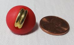 3 Smaller red plastic buttons 0.65 ins by ButtonsAndTreasures