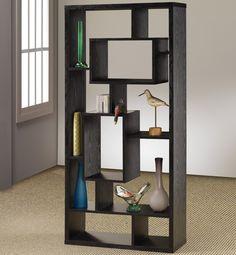 Gorgeous Black Painted Wood Modular Shelving Unit Design Idea with Rectangular Frame and Impressive Cubes Shelves Inside