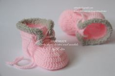 Crochet baby booties, baby shoes, baby girl, boots, sneakers, light tan, pink, READY TO SHIP, size 0-3 months, gift