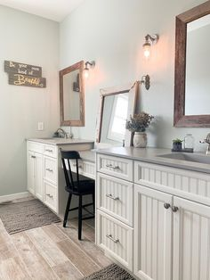 Check out this modern farmhouse master bathroom design that began on a sheet of notebook paper! Bathroom Design Inspiration, Bathroom Interior Design, Home Decor Inspiration, Design Ideas, Decor Ideas, Decorating Ideas, Modern Farmhouse Bathroom, Classic Bathroom, Farmhouse Office