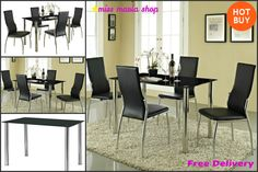 Glass Dining Table Set 4 Chairs Kitchen Dining Furniture Black 5 Pc Chrome NEW