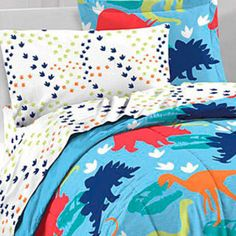 Dinosaur Prints 5-piece Twin-size Bed in a Bag with Sheet Set
