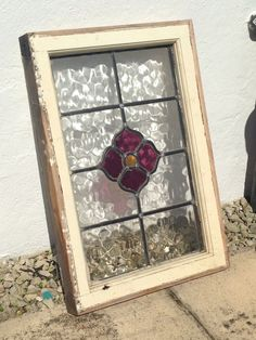 ANTIQUE VINTAGE OLD STAINED GLASS WINDOW LEAD FLOWER DESIGN