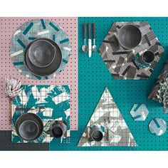 Laura Slater grid placemats & coasters - handmade in the UK - Unique & Unity